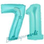 Zahl 71 Türkis, Luftballons aus Folie zum 71. Geburtstag, 100 cm, inklusive Helium