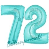 Zahl 72 Türkis, Luftballons aus Folie zum 72. Geburtstag, 100 cm, inklusive Helium