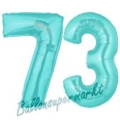 Zahl 73 Türkis, Luftballons aus Folie zum 73. Geburtstag, 100 cm, inklusive Helium