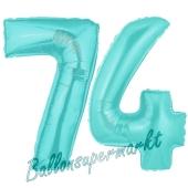 Zahl 74 Türkis, Luftballons aus Folie zum 74. Geburtstag, 100 cm, inklusive Helium