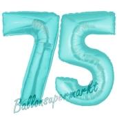 Zahl 75 Türkis, Luftballons aus Folie zum 75. Geburtstag, 100 cm, inklusive Helium