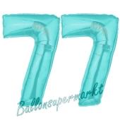 Zahl 77 Türkis, Luftballons aus Folie zum 77. Geburtstag, 100 cm, inklusive Helium