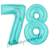 Zahl 78 Türkis, Luftballons aus Folie zum 78. Geburtstag, 100 cm, inklusive Helium