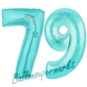 Zahl 79 Türkis, Luftballons aus Folie zum 79. Geburtstag, 100 cm, inklusive Helium