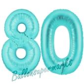 Zahl 80, Türkis, Luftballons aus Folie zum 80. Geburtstag