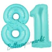 Zahl 81 Türkis, Luftballons aus Folie zum 81. Geburtstag, 100 cm, inklusive Helium