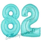 Zahl 82 Türkis, Luftballons aus Folie zum 82. Geburtstag, 100 cm, inklusive Helium