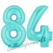 Zahl 84 Türkis, Luftballons aus Folie zum 84. Geburtstag, 100 cm, inklusive Helium