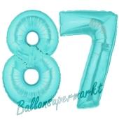 Zahl 87 Türkis, Luftballons aus Folie zum 87. Geburtstag, 100 cm, inklusive Helium
