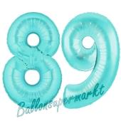 Zahl 89 Türkis, Luftballons aus Folie zum 89. Geburtstag, 100 cm, inklusive Helium