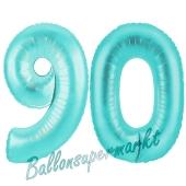 Zahl 90, Türkis, Luftballons aus Folie zum 90. Geburtstag