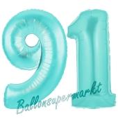 Zahl 91, Türkis, Luftballons aus Folie zum 91. Geburtstag, 100 cm, inklusive Helium