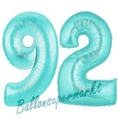 Zahl 92, Türkis, Luftballons aus Folie zum 92. Geburtstag, 100 cm, inklusive Helium