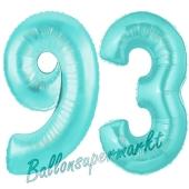 Zahl 93, Türkis, Luftballons aus Folie zum 93. Geburtstag, 100 cm, inklusive Helium