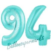 Zahl 94, Türkis, Luftballons aus Folie zum 94. Geburtstag, 100 cm, inklusive Helium
