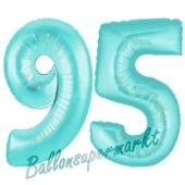 Zahl 95, Türkis, Luftballons aus Folie zum 95. Geburtstag, 100 cm, inklusive Helium