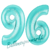 Zahl 96, Türkis, Luftballons aus Folie zum 96. Geburtstag, 100 cm, inklusive Helium