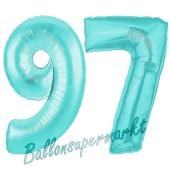 Zahl 97, Türkis, Luftballons aus Folie zum 97. Geburtstag, 100 cm, inklusive Helium