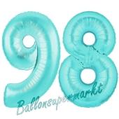 Zahl 98, Türkis, Luftballons aus Folie zum 98. Geburtstag, 100 cm, inklusive Helium