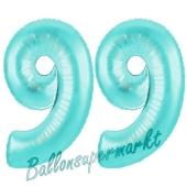 Zahl 99, Türkis, Luftballons aus Folie zum 99. Geburtstag, 100 cm, inklusive Helium