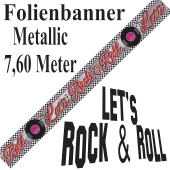 Folien-Banner 50er Jahre Party, Let's Rock & Roll, Partydekoration