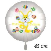 Osterhasen Luftballon, Osterhase jongliert mit Ostereiern, weißer Rundluftballon mit Helium, Frohe Ostern