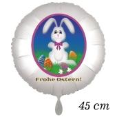Osterhasen Luftballon, Osterhase mit Ostereiern auf der Frühlingswiese, weißer Rundluftballon mit Helium, Frohe Ostern