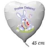 Osterhase mit Osterei und Schmetterling, Frohe Ostern, Luftballon aus Folie in Herzform ohne Helium