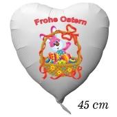Osterhasen Luftballon, Osterkorb mit ostereiern, weißer Herzluftballon mit Helium, Frohe Ostern