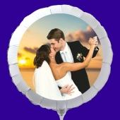 Fotoballon mit Brautpaar, personalisiert, mit Namen der Brautleute und Datum des Hochzeitstages