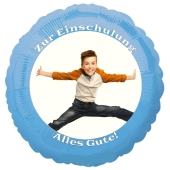 Fotoballon zur Einschulung, zum Schulanfang. Ballon in Hellblau mit dem Foto des Schulkindes zum Schulbeginn