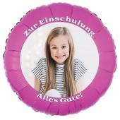 Fotoballon zur Einschulung, zum Schulanfang. Ballon in Pink mit dem Foto des Schulkindes zum Schulbeginn