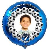 Fotoballon, Luftballon aus Folie mit dem Foto Ihres Kindes zum Geburtstag, Motiv Fußball mit Geburtstagszahl