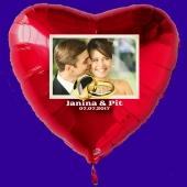 Großer Fotoballon mit Brautpaar, personalisiert, mit Namen der Brautleute und Datum des Hochzeitstages