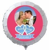 Fotoballon mit Hochzeitspaar, personalisiert, mit Namen der Brautleute und Datum des Hochzeitstages, weißer Rundballon mit Helium