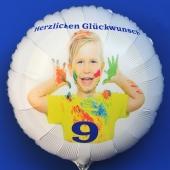 Fotoballon, weißer Luftballon aus Folie mit dem Foto Ihres Kindes zum Kindergeburtstag, Kinder-Foto auf dem Ballon, inklusive Helium