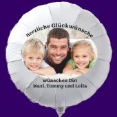 Fotoballon, Luftballon aus Folie mit Ihrem Foto, Herzliche Glückwünsche, runder Folienballon mit Helium