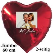 Großer Fotoballon mit Brautpaar zur Rubinhochzeit, personalisiert, mit Namen der Brautleute