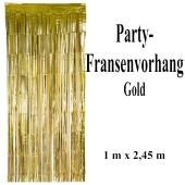 Silvesterdekoration und Partydekoration, goldener Fransenvorhang