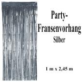 Silvesterdekoration und Partydekoration, silberner Fransenvorhang