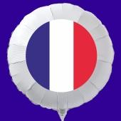 Französische Flagge Luftballon aus Folie mit Helium-Ballongas, weißer Rundballon