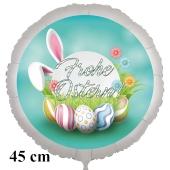 Frohe Ostern Luftballon, 45 cm, mit Ostereiern und Blümchen, inklusive Helium