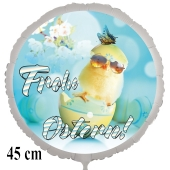 Frohe Ostern Luftballon, 45 cm, mit Osterküken mit Sonnenbrille