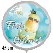 Frohe Ostern Luftballon, 45 cm, mit Osterküken mit Sonnenbrille, inklusive Helium