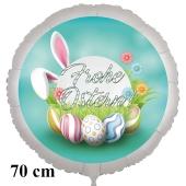 Frohe Ostern Luftballon, 70 cm, mit Ostereiern und Blümchen, inklusive Helium