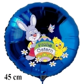 Blauer Helium Luftballon zu Ostern, Osterhase mit Osterei, Osterküken und Schmetterling