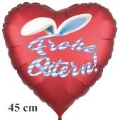 Frohe Ostern satinroter Herzluftballon, 45 cm, mit Hasenohren, ohne Helium