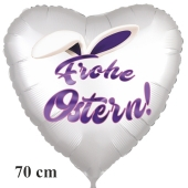 Frohe Ostern satinweißer Herzluftballon, 70 cm, mit Hasenohren, inklusive Helium