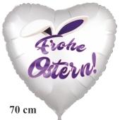 Frohe Ostern satinweißer Herzluftballon, 70 cm, mit Hasenohren, ohne Helium