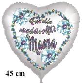 Für die wundervollste Mama. Herzluftballon in Satinweiß, 45 cm, mit Helium
